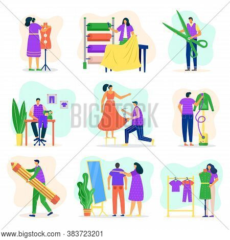 Fashion Designer, Dressmaker Set, Tailoring, Measuring And Sewing For Customers Cartoon Vector Illus