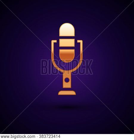 Gold Microphone Icon Isolated On Black Background. On Air Radio Mic Microphone. Speaker Sign. Vector