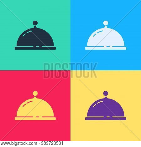 Pop Art Covered With A Tray Of Food Icon Isolated On Color Background. Tray And Lid. Restaurant Cloc