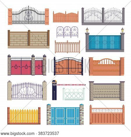 Fence, Gates Set Of Vector Illustration Isolated On White Background. Wooden, Metal, Stone Brick Wal