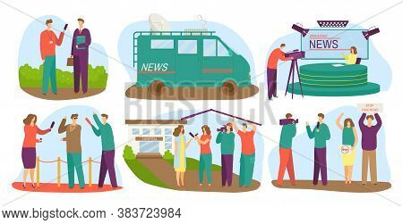 Journalists Different Channels Taking Interview, Mass Media Vector Illustrations Set. Journalism, Le
