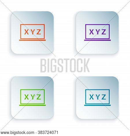 Color Xyz Coordinate System On Chalkboard Icon Isolated On White Background. Xyz Axis For Graph Stat