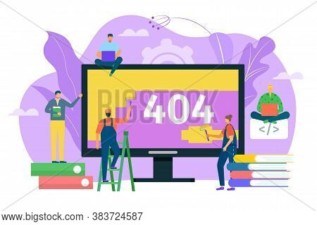404 Error Web Page Design Concept, Warning Sign Vector Illustration. Laptop Screen With Error. Small