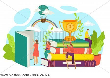 Best Book Concept, Vector Illustration. Bestseller Books. Stack Of Books And Prize Trophy Cup. Pile