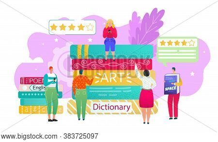Book Review, Reading Club Concept, Vector Illustration. Readers People Vote On Stack Of Books For Be