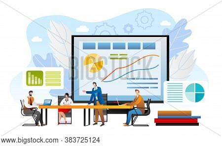 Briefing Concept, Business Meeting Vector Illustration. Businessman Giving Presentation To Team In O