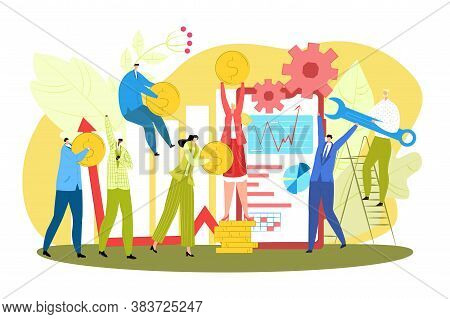 Successful Business Creative Teamwork Vector Illustration. Businessmen Team Woorking Together And Ma