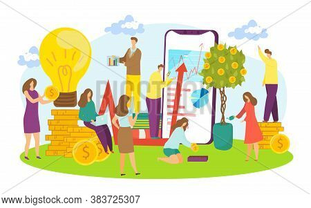 Business Creative Teamwork Vector Illustration. Businessmen And Businesswoman Working In Team. Commu