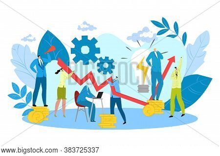Business Creative Team Work Isolated Vector Illustration. People Working In Team Together, Creativit