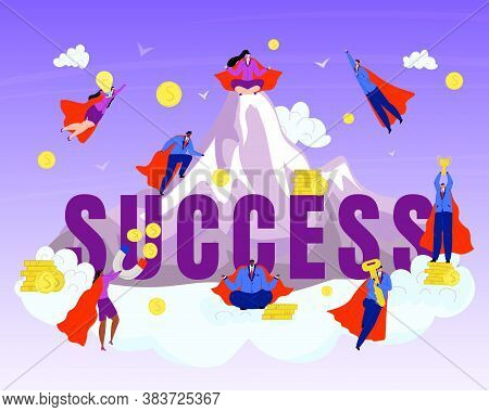 Business Hero, Superheros On Success Mountain Vector Illustration. Businessman In Red Cloacks. Chall