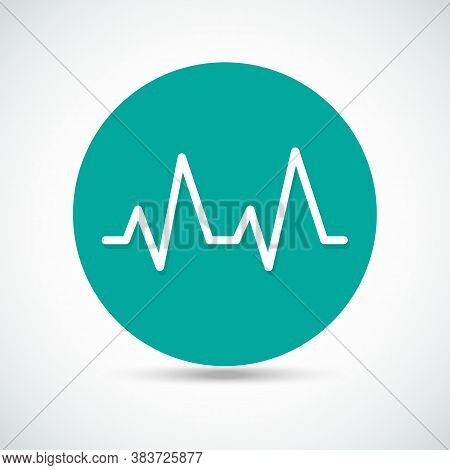 Pulse Heart Rate Vector Icon In Flat Style With Shadow. Heart Monitor Line Icon. Frequency Wave. Bea