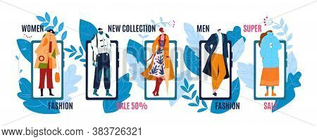 Fashion Banners Or Labels With Sale, Discount Or Price Advertising Of Mans And Womans Fashionable Cl