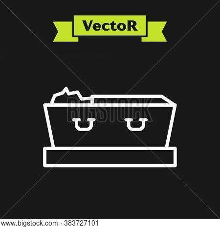 White Line Open Coffin With Dead Deceased Body Icon Isolated On Black Background. Funeral After Deat