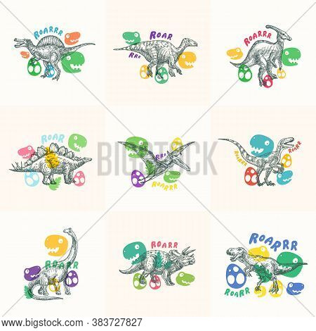 Dinosaurs Abstract Signs, Symbols Or Logo Templates Collection. Hand Drawn Ancient Reptiles Labels S
