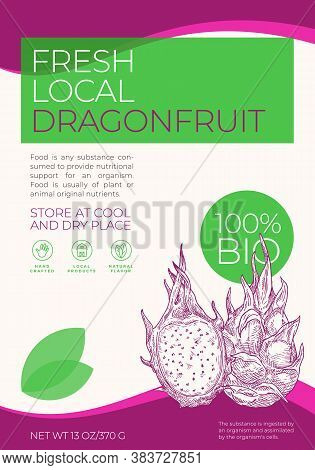 Fresh Local Fruits Label Template. Abstract Vector Packaging Design Layout. Modern Typography Banner