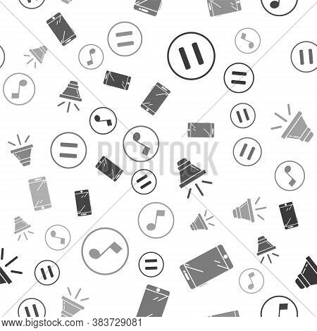 Set Pause Button, Smartphone, Mobile Phone, Speaker Volume And Music Note, Tone On Seamless Pattern.