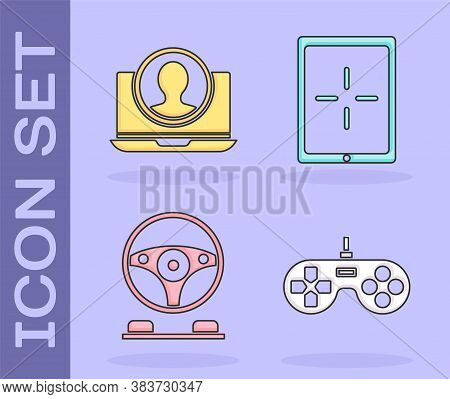 Set Gamepad, Create Account Screen, Racing Simulator Cockpit And Tablet Icon. Vector