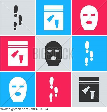 Set Footsteps, Evidence Bag And Bullet And Thief Mask Icon. Vector