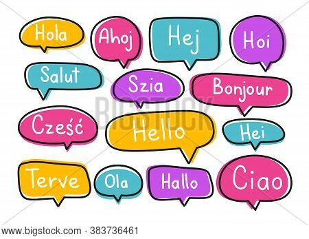 Greeting Phrases In Different Languages. Handwritten Lettering Illustration. Black Vector Text In Ne