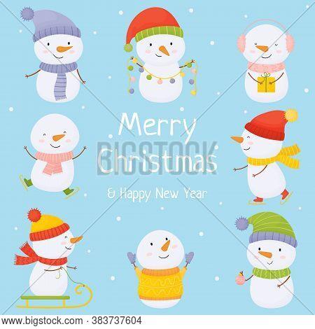 Set Of Cute Christmas Snowmen Flat Vector Illustrations. Winter Outdoor Activities For Children. Che