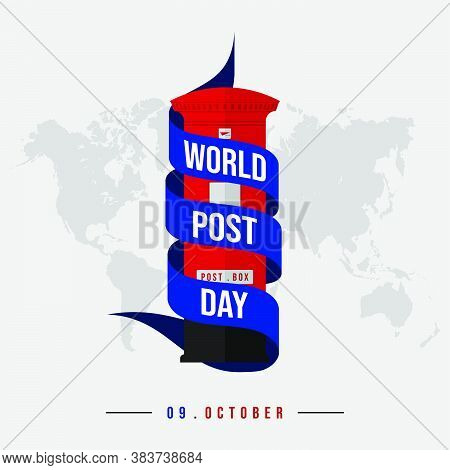 World Post Day Text On Ribbon Around The Post Box. Good Template For World Post Day Design.