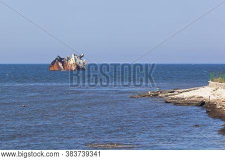 Remains Of The Dry-cargo Ship Ibragim Yakim Stranded Near Cape Tarkhankut, Crimea, Russia