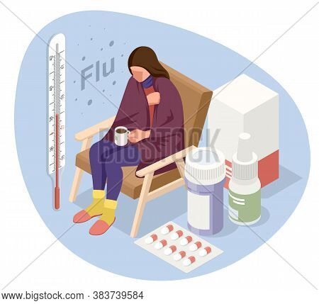 A Sick Upset Woman With A Cup Of Tea, Sitting In A Chair Covered With A Blanket, Freezes And Has A F