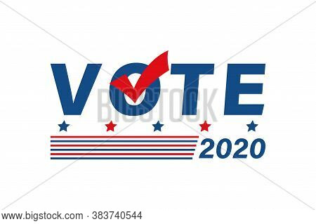 Vote 2020 In Usa Political Poster. Flat Patriotic Colors Banner With Slats And Checkmark. Voting Cam