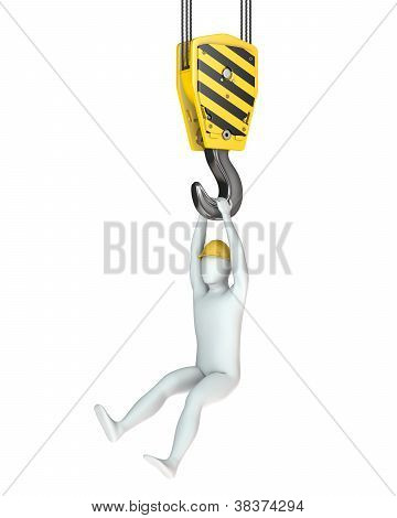 Worker Hangs On Crane Hook