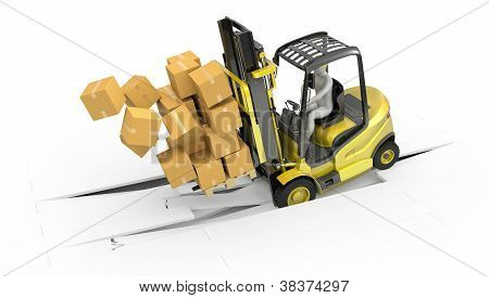 Fork lift truck with heavy load crashing through floor isolated on white background poster