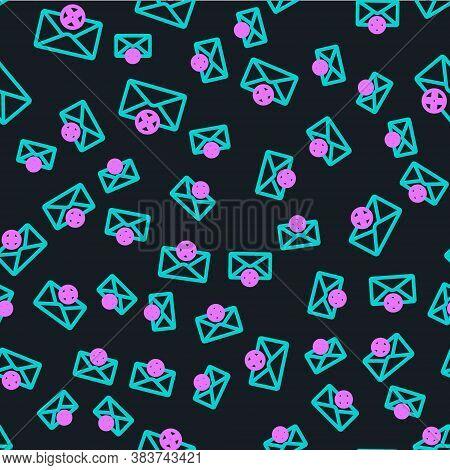 Line Delete Envelope Icon Isolated Seamless Pattern On Black Background. Delete Or Error Letter. Cro