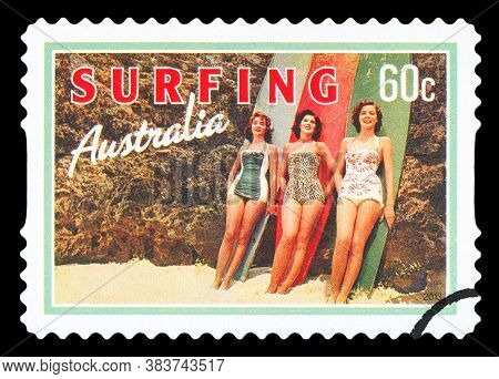 Australia - Circa 2013: A Stamp Printed In Australia Dedicated To Surfing, Shows Beach Beauties, Cir