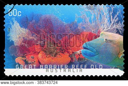 Australia - Circa 2013:a Cancelled Postage Stamp From Australia Illustrating Australian Scenery Of G