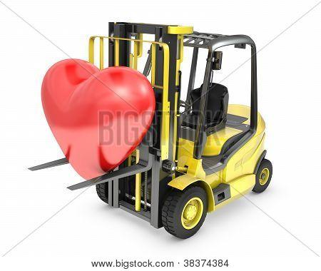 Fork Lift Truck Lifts Red Heart