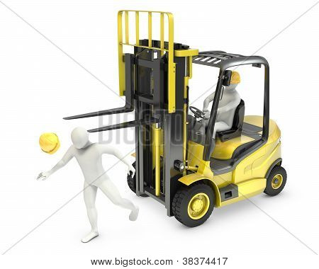 Abstract White Man Was Hit By Lift Truck Fork