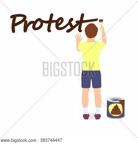 The Boy Is Showing His Attitude To The World Around Him, Symbolizing Protest And Disagreement.