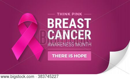 Breast Cancer Awareness Month In October. Turn The Page Concept. Realistic Pink Ribbon Symbol, Think