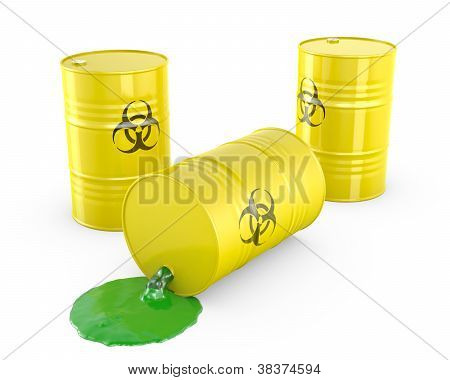 Toxic waste spilling from barrel isolated on white background poster