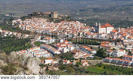 Castelo De Vide In Alentejo, Portugal From Serra De Sao Mamede Mountains