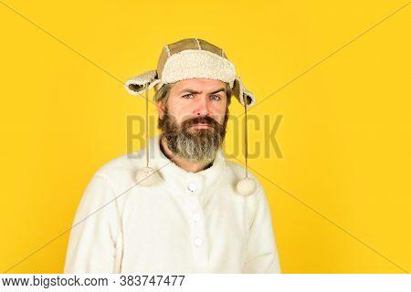 Winter Warmness. Portrait Of Brutal Man In Fleece Sweatshirt. Handsome Male Model Wearing Warm Hat.