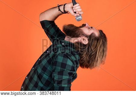 Full Of Emotions. Bearded Man. Concept Of Music. He Is Rock Star. Brutal Stylish Singer. Singing In