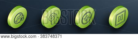 Set Isometric Vinyl Disk, Head People With Play Button, Cd Or Dvd Disk And Pause Button Icon. Vector