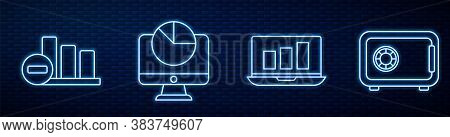 Set Line Laptop With Graph Chart, Pie Chart Infographic, Computer Monitor With Graph Chart And Safe.