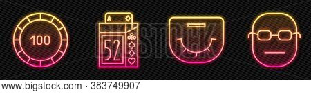 Set Line Poker Table, Casino Chips, Deck Of Playing Cards And Poker Player. Glowing Neon Icon. Vecto