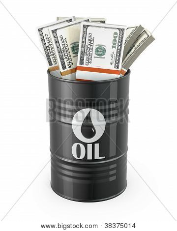Barrel Of Oil With Dollars Inside