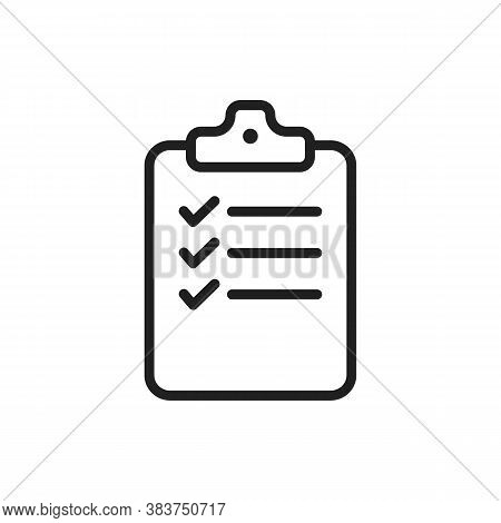 Checklist Clipboard Thin Line Vector Icon. Outline Check List With Questionnaire Form And Tick Check
