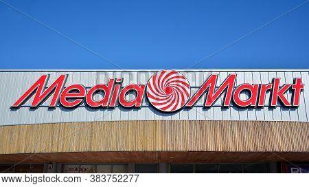Warsaw, Poland. 3 September 2020. Sign Media Markt. Company Signboard Media Markt.