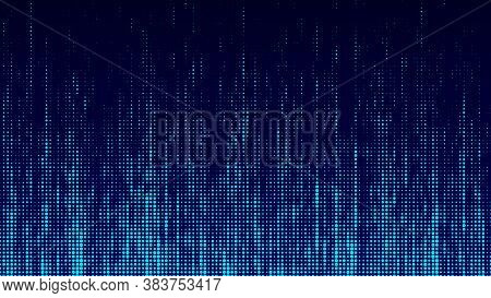 Abstrack Background In Matrix Style. Falling Particles. Glitch Of Matrix. Cybernetic Futuristic Back