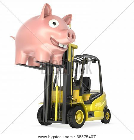 Fork Lift Truck Lifts Up Coin Bank