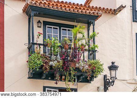 Santa Cruz De La Palma, Spain - November 12, 2019: Balcones De La Avenida Maritima, The Best Preserv